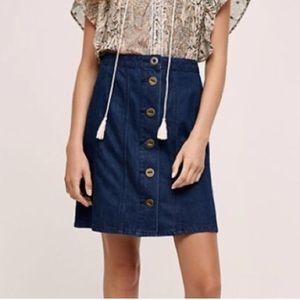 Anthro Pilcro Button Front Denim Mini Pencil Skirt